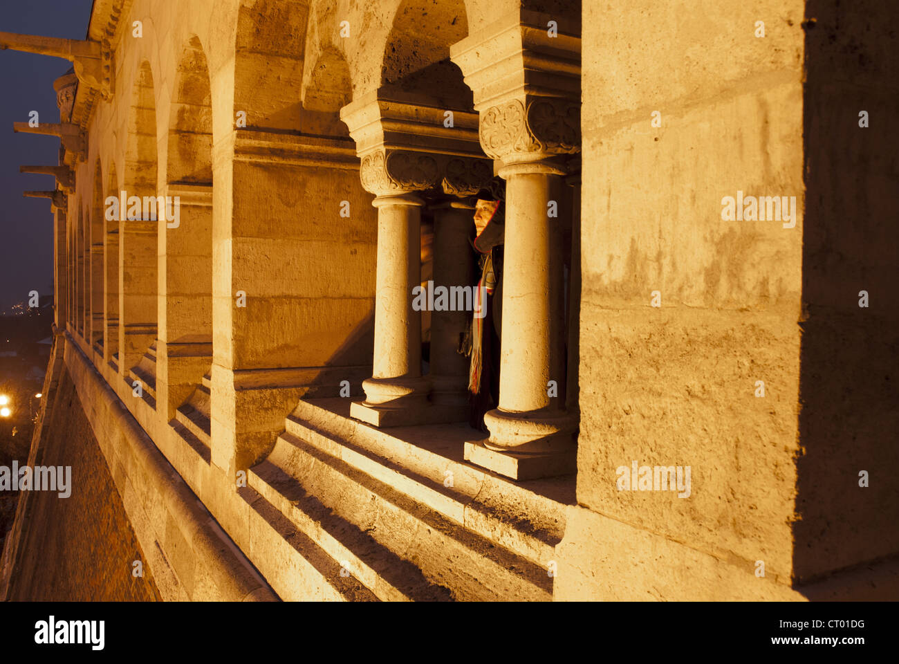 Fishermen's Bastion, built 1895 as a monument to Guild of Fishermen in Neo-Romanesque style on Castle Hill in - Stock Image