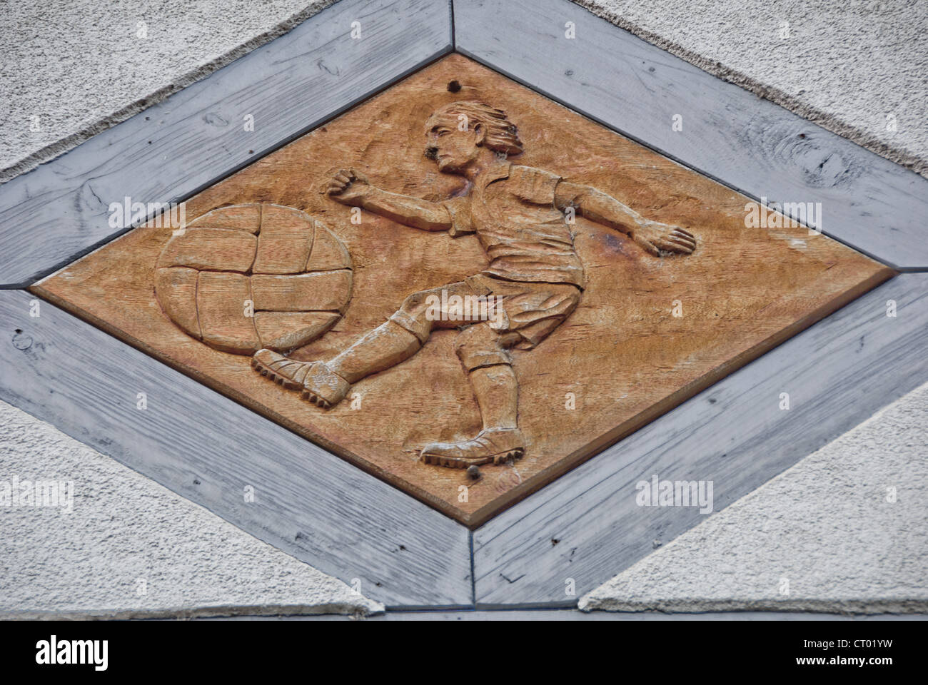 Soccer bas-relief plaque, Wertheim, Germany - Stock Image