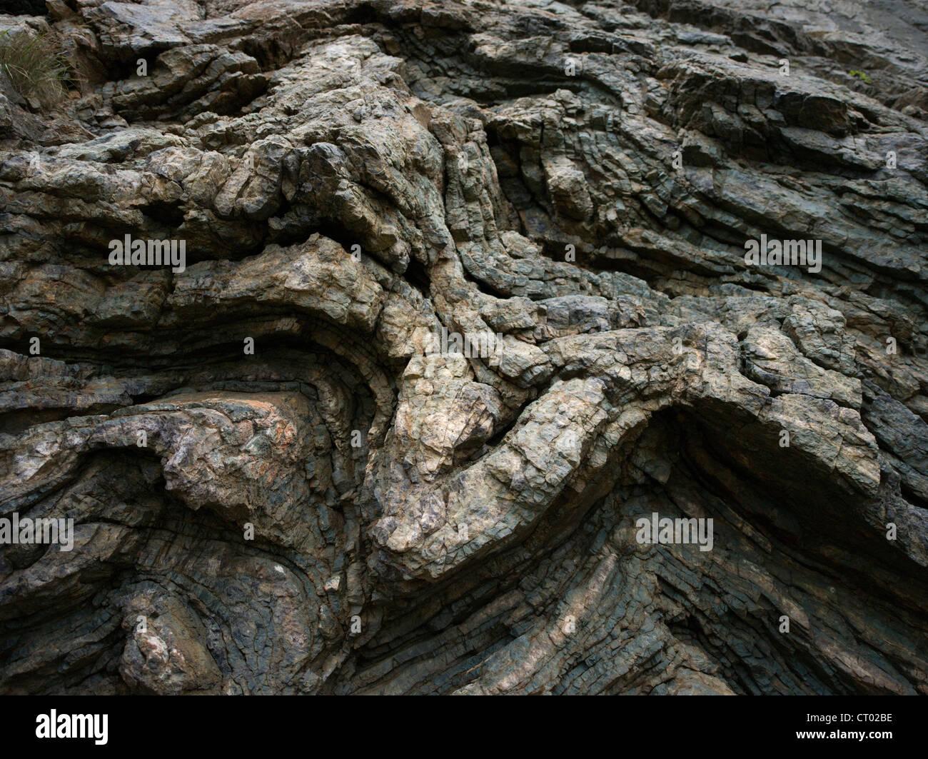 Rock Fold in sedimentary strata Okinawa, Japan - Stock Image