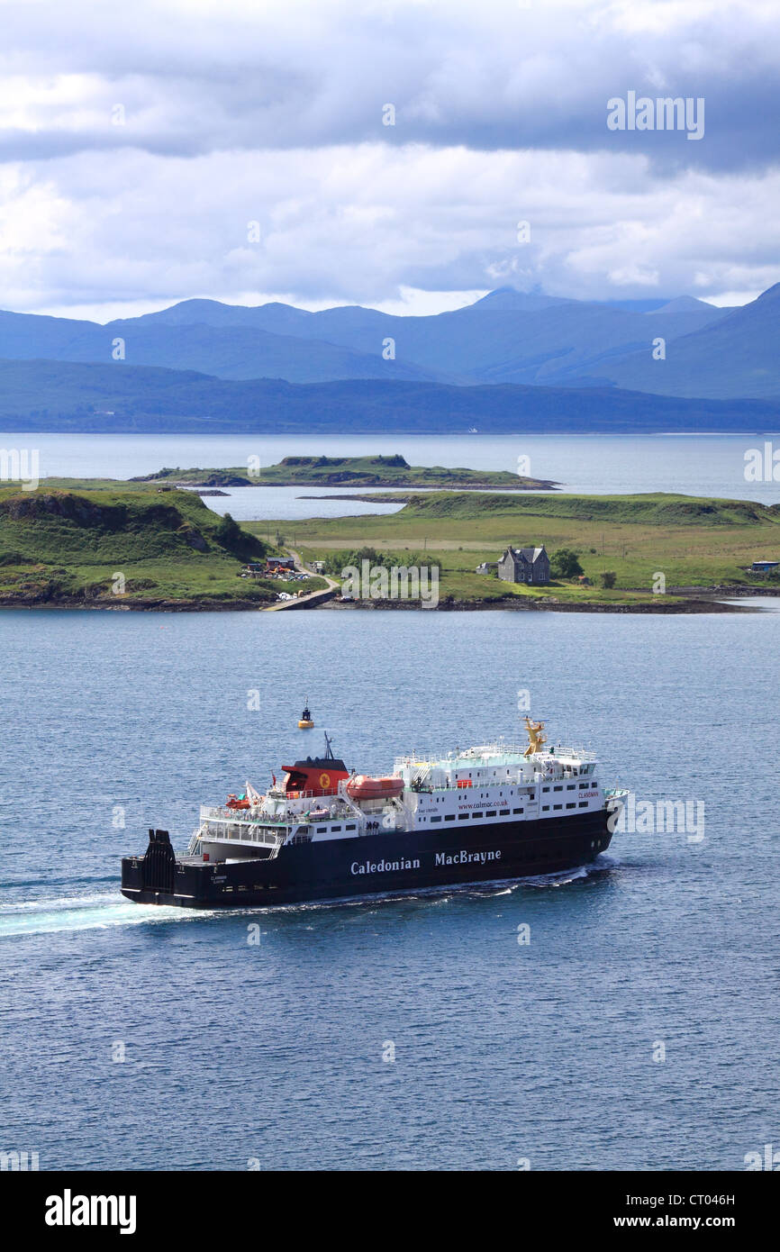 Calmac ferry, The Clansman, leaving Oban en route to the Isle of Mull, Scotland Stock Photo