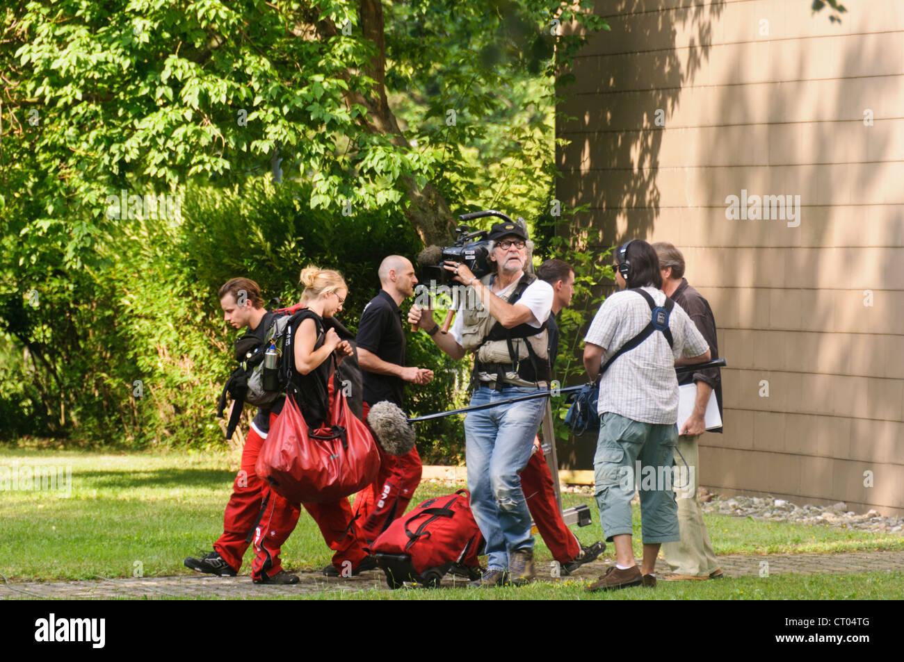 SWR Suedwestrundfunk Camera Crew Cameraman Director Sound Engineer Documentary Reportage - Heilbronn Germany - Stock Image