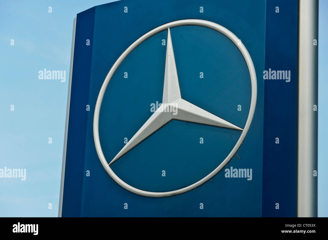 Car manufacturer Mercedes Benz Star Company Logo sign board - Stock Image