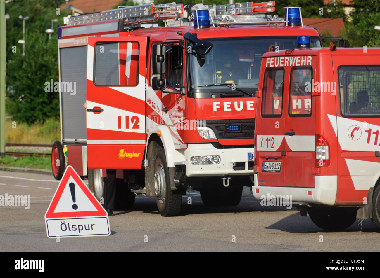 German Fire Trucks Fire Engines Mercedes Benz Voluntary Auxiliary Fire Brigade 112 - Schwaigern Heilbronn Germany - Stock Image