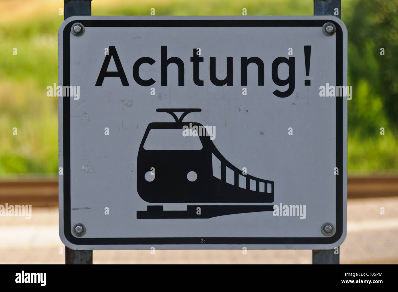 German Railroad Level Crossing Warning Sign 'Achtung' Attention - Stock Image
