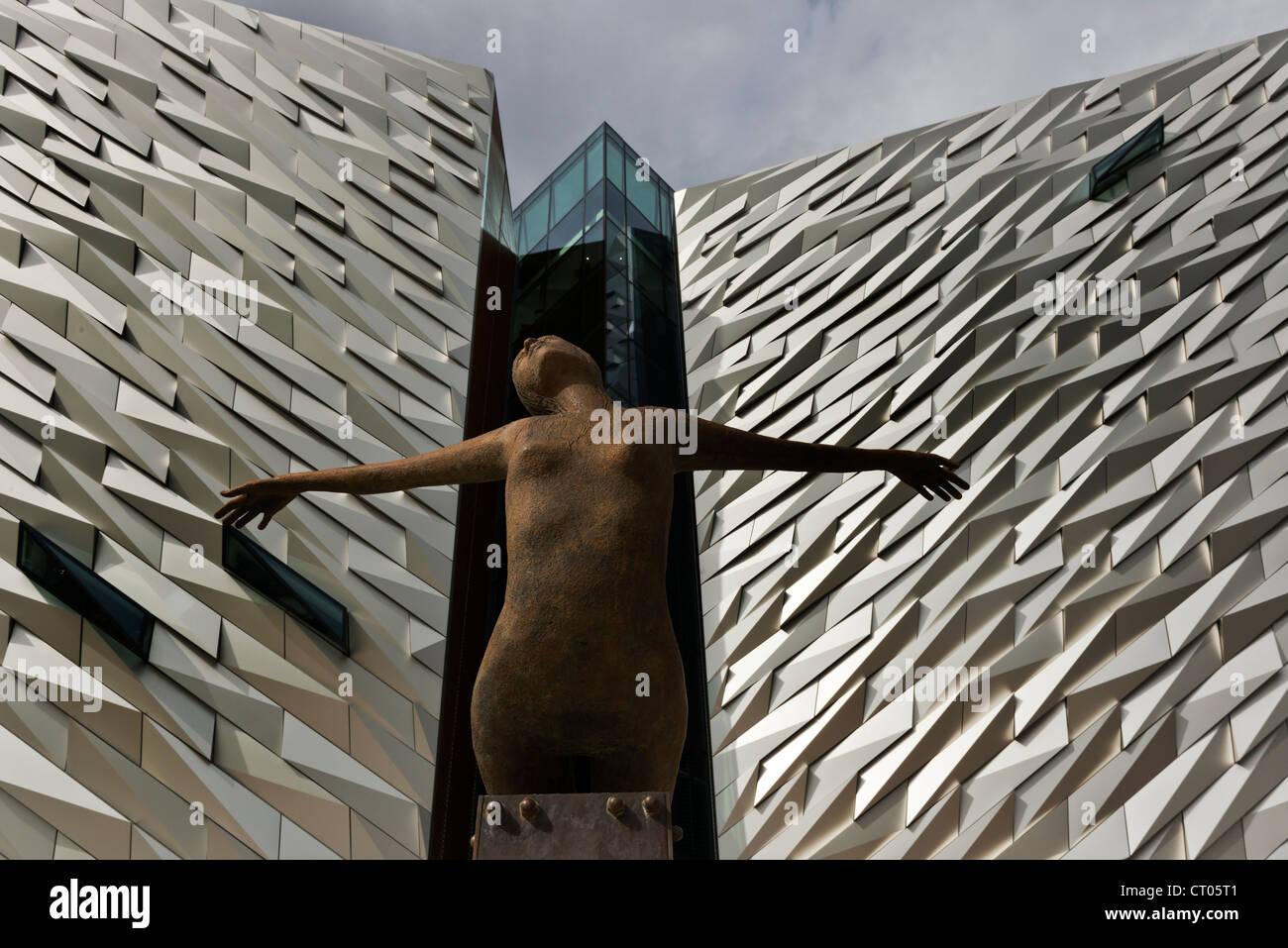 Rowan Gillespie's sculpture Titanica. Titanic Museum. Belfast. Northern Ireland. UK. Europe - Stock Image