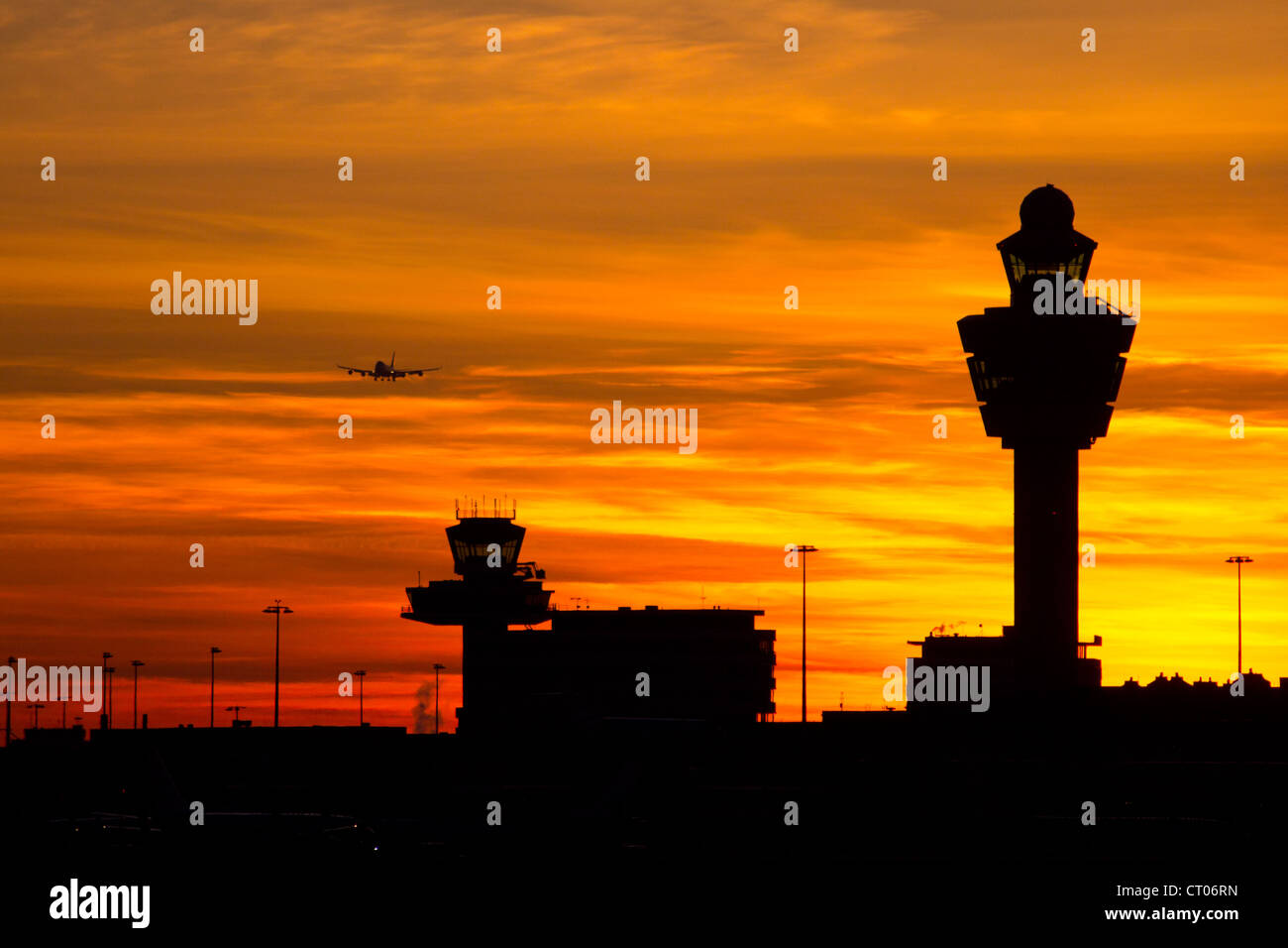 Amsterdam Schiphol Airport sunset - Stock Image