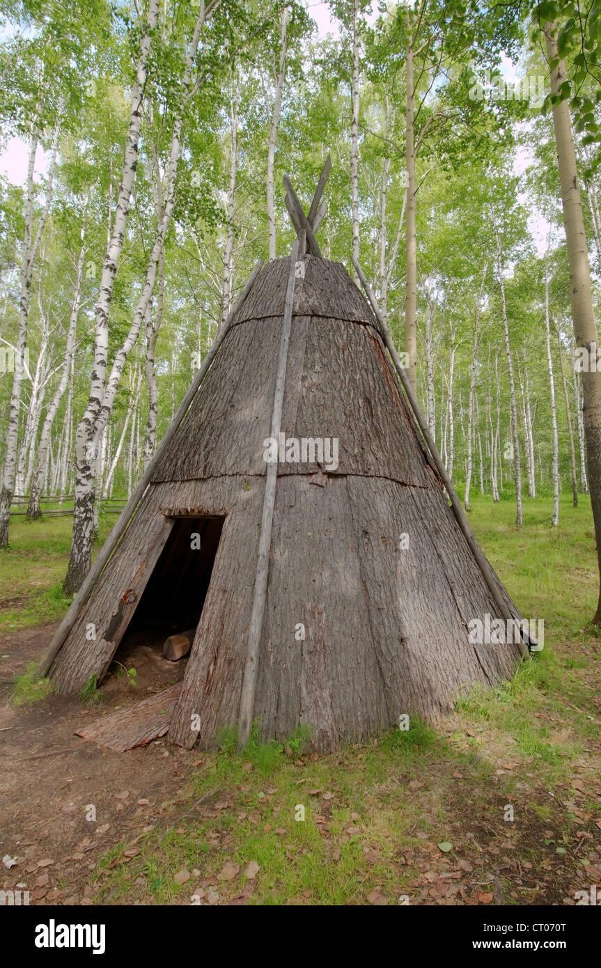 Evenki settlement, Settlement Talzy, Irkutsk region, Baikal, Siberia, Russian Federation - Stock Image