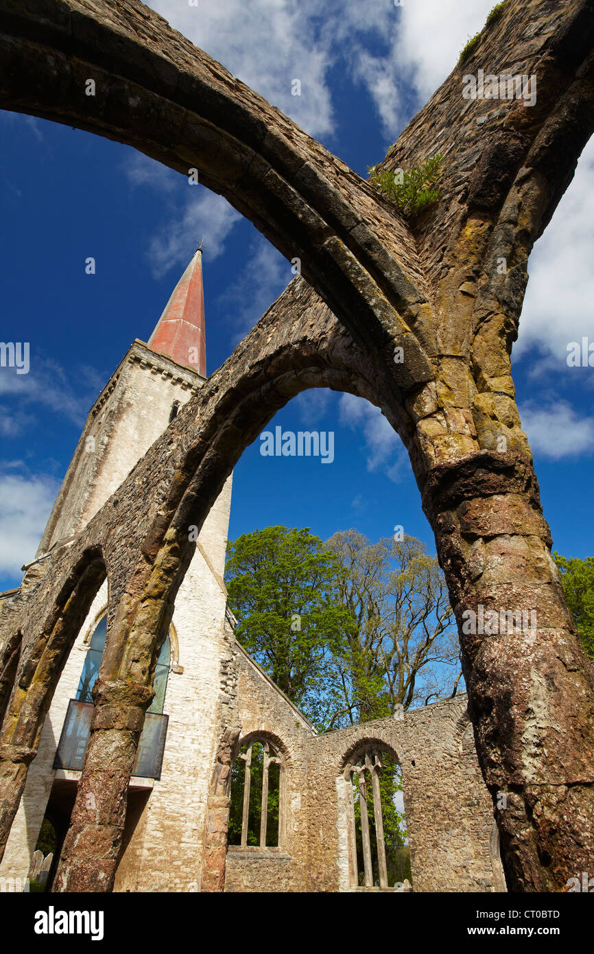 The ruins of the old Holy Trinity church bove Buckfastleigh in Devon - Stock Image