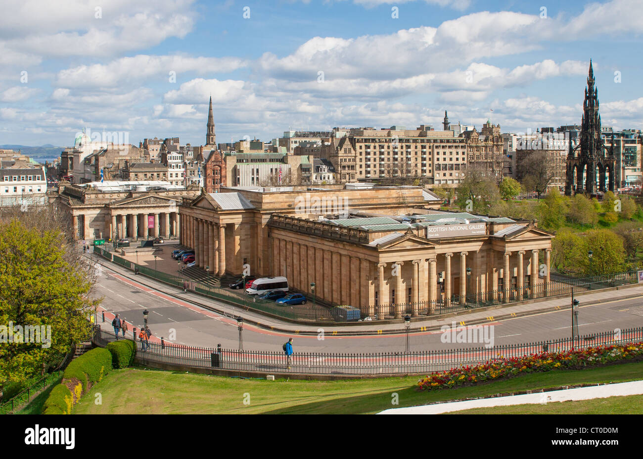 View over Edinburgh with the Scottish National Gallery in the foreground. Taken from the mound Stock Photo