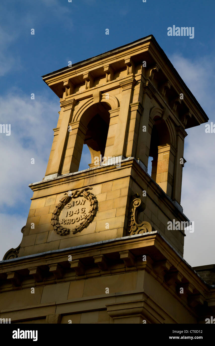 Sion Sunday school tower, now a restaurant in Halifax Bus Station. - Stock Image