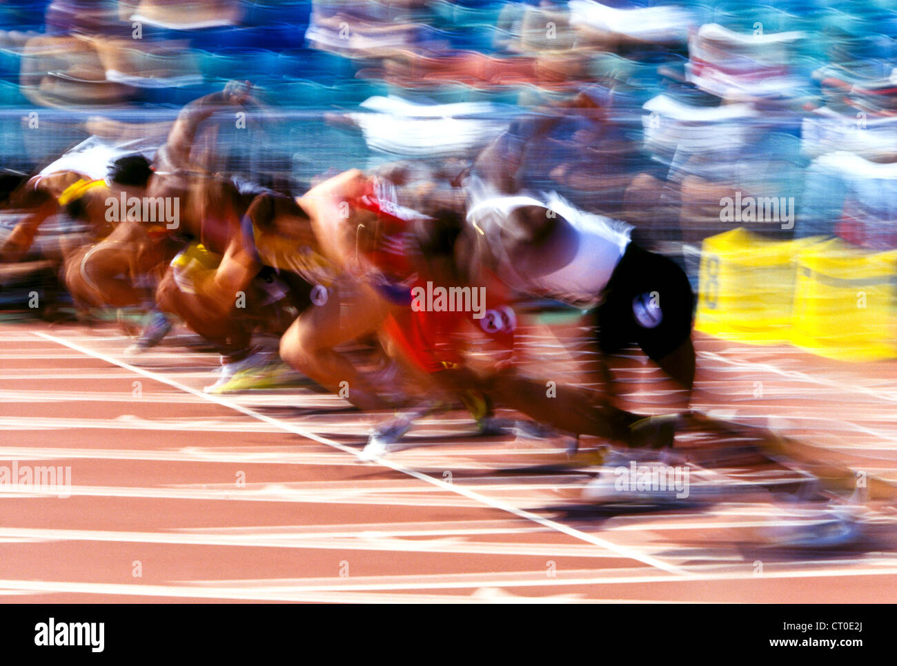 Start of track and field 100 meters sprint start. - Stock Image