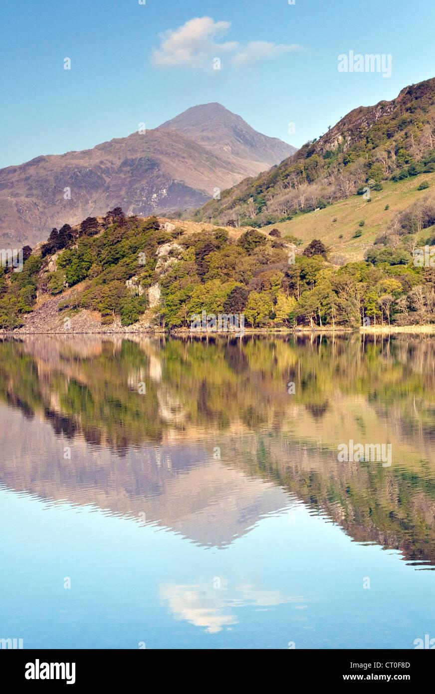 Reflections of Moel Hebog mirrored in Llyn Gwynant Lake in the Nantgwynant Valley Snowdonia National Park Gwynedd North Wales UK Stock Photo
