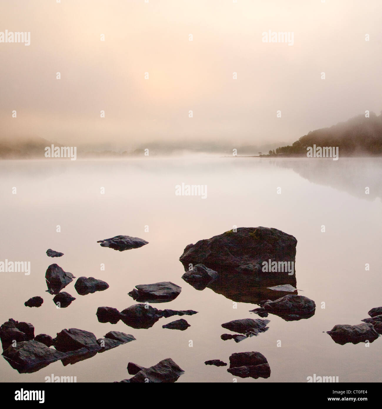 Misty Dawn on Llyn Dinas Lake in the Nantgwynant Valley Snowdonia National Park Gwynedd North Wales UK, Late Spring. Stock Photo