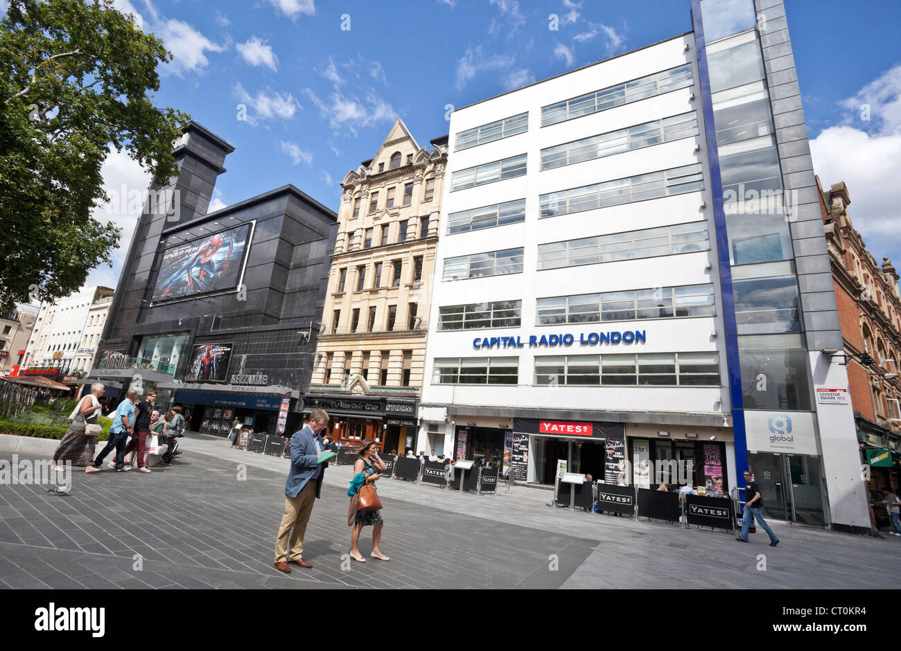 daily city life: Leicester Square on a sunny day, London, WC2H, England, UK - Stock Image