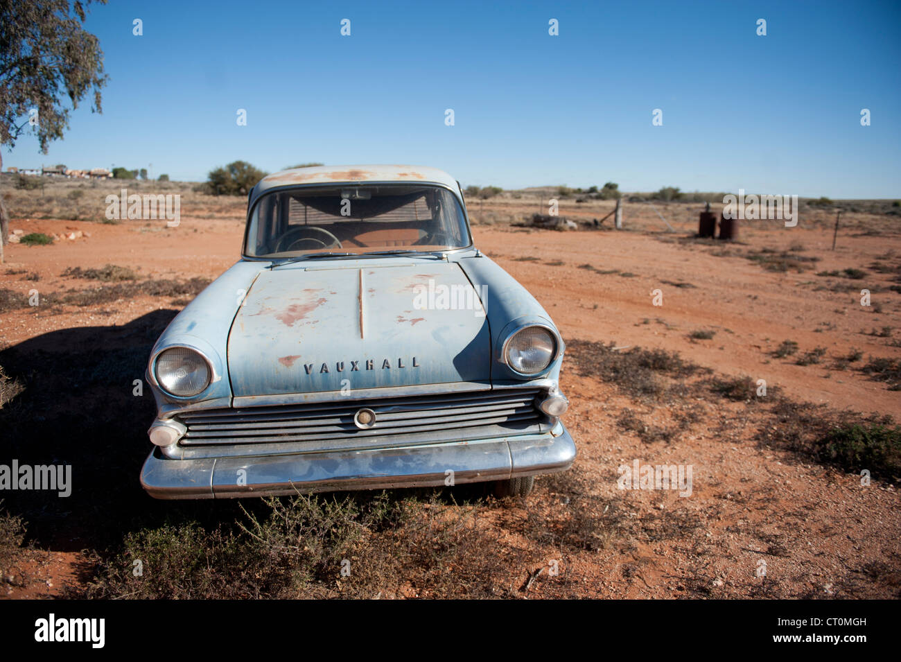 Vintage Vauxhall car parked in Silverton, Outback New South Wales, famous as locations of films like Mad Max 2 oder - Stock Image