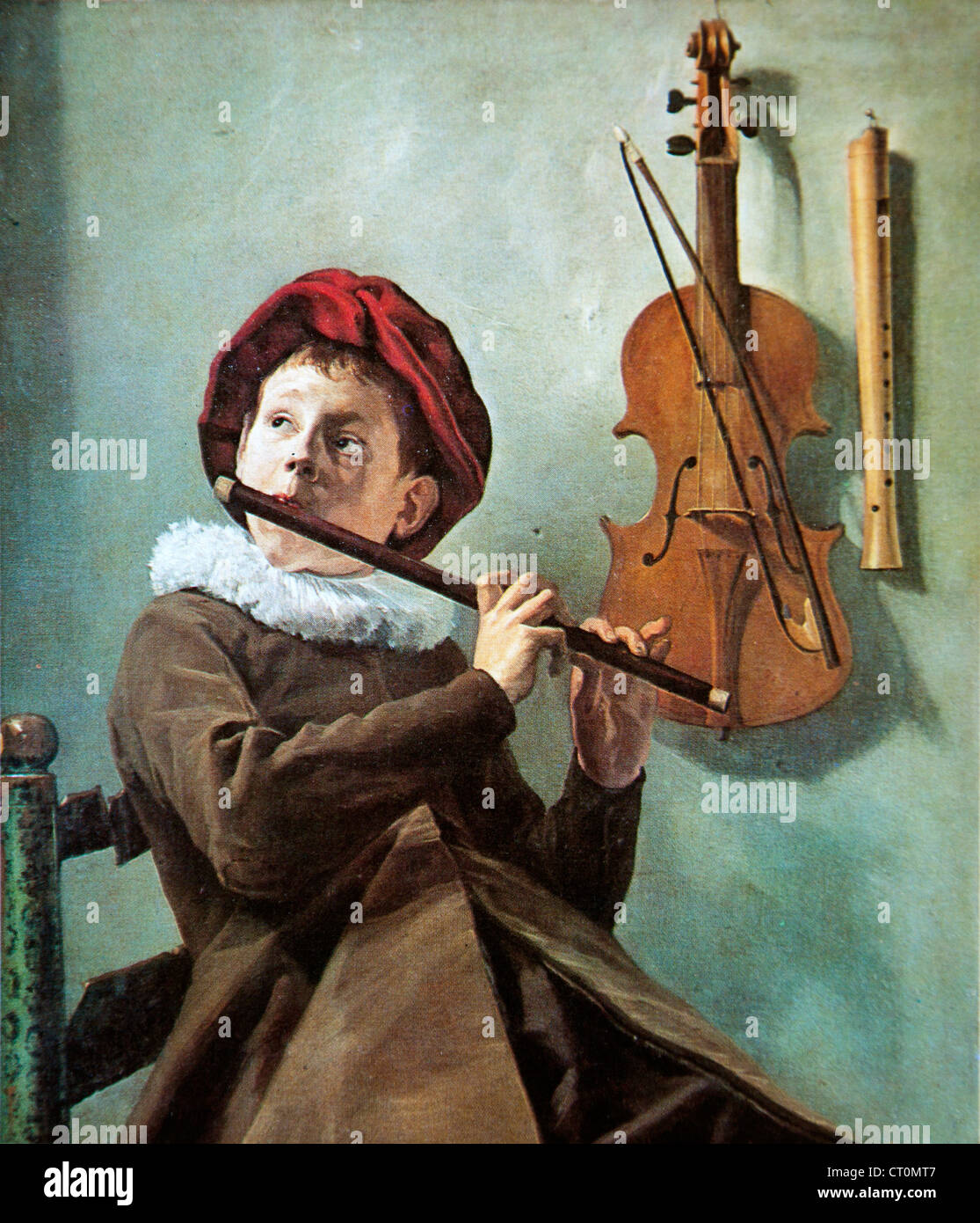 A Boy Playing a Flute – Judith Leyster Stock Photo: 49188839
