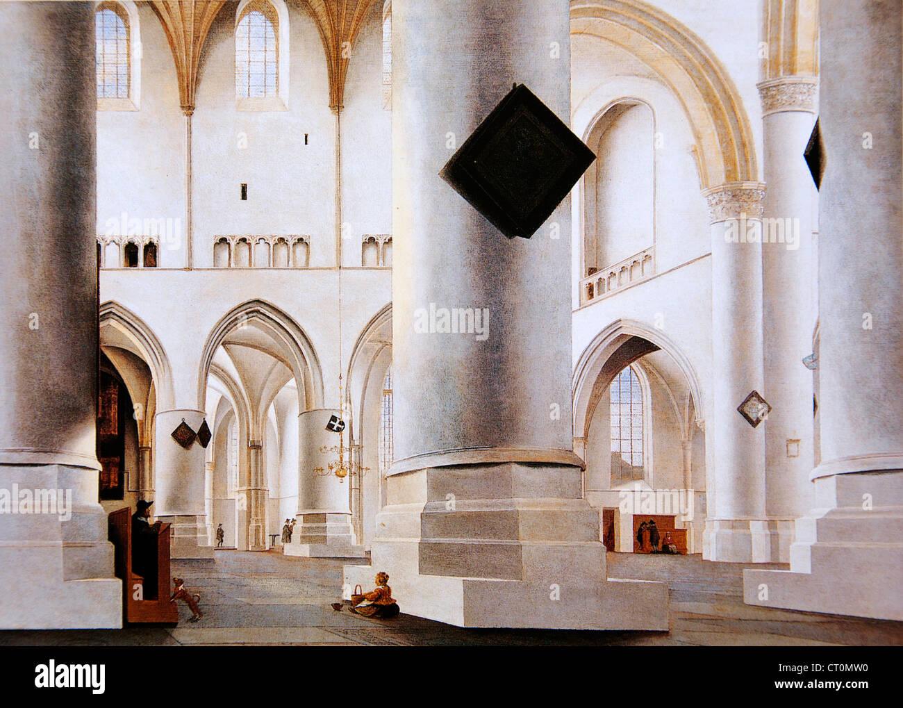 Pieter Jansz. Saenredam - Interior of the Grote Kerk, Haarlem Stock Photo