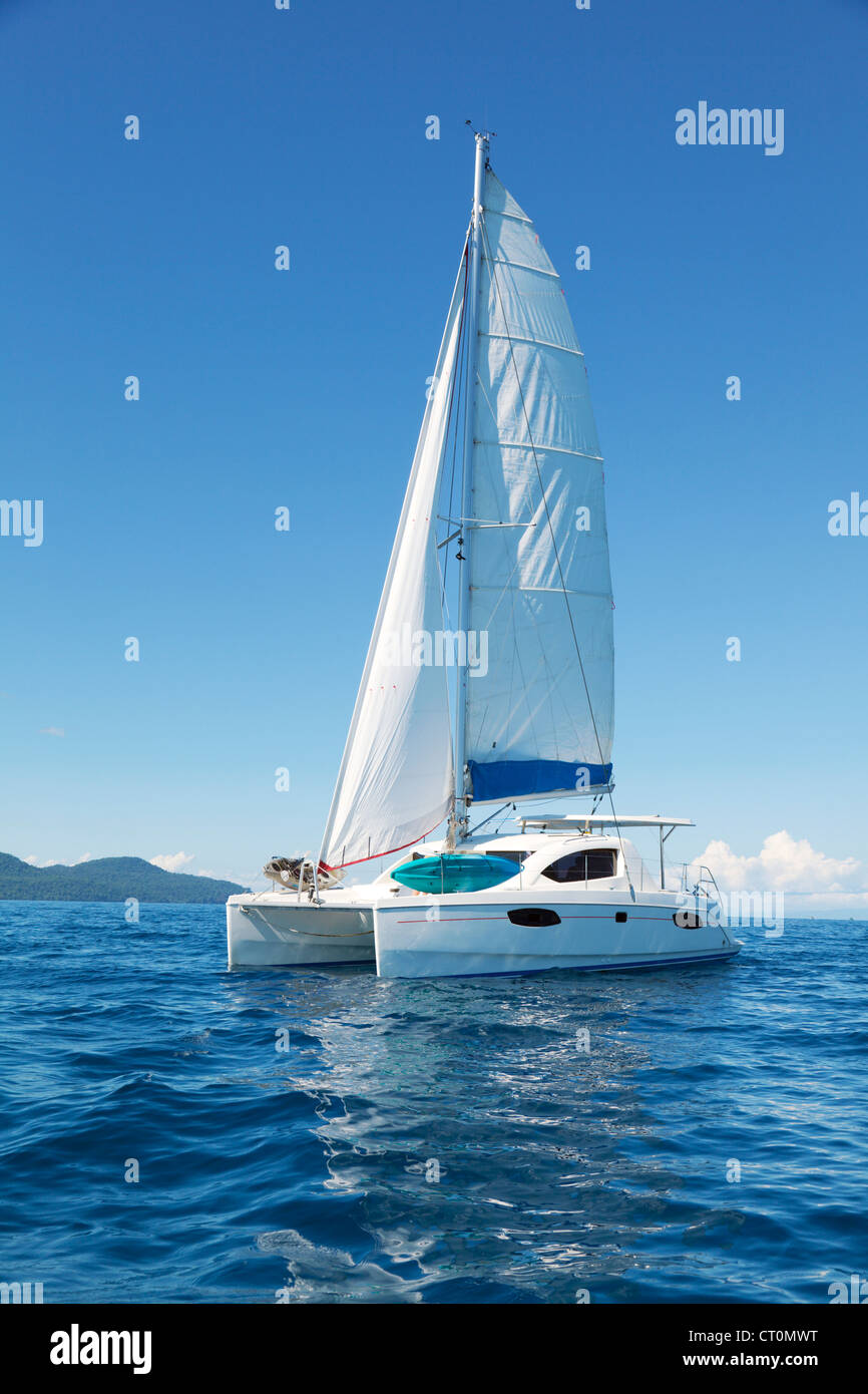 Catamaran at sea - Stock Image