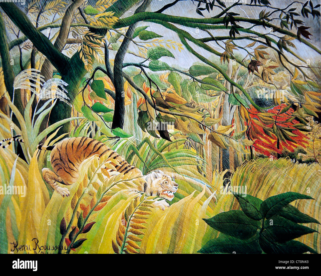 Henri Rousseau - Tiger in a Tropical Storm - Stock Image
