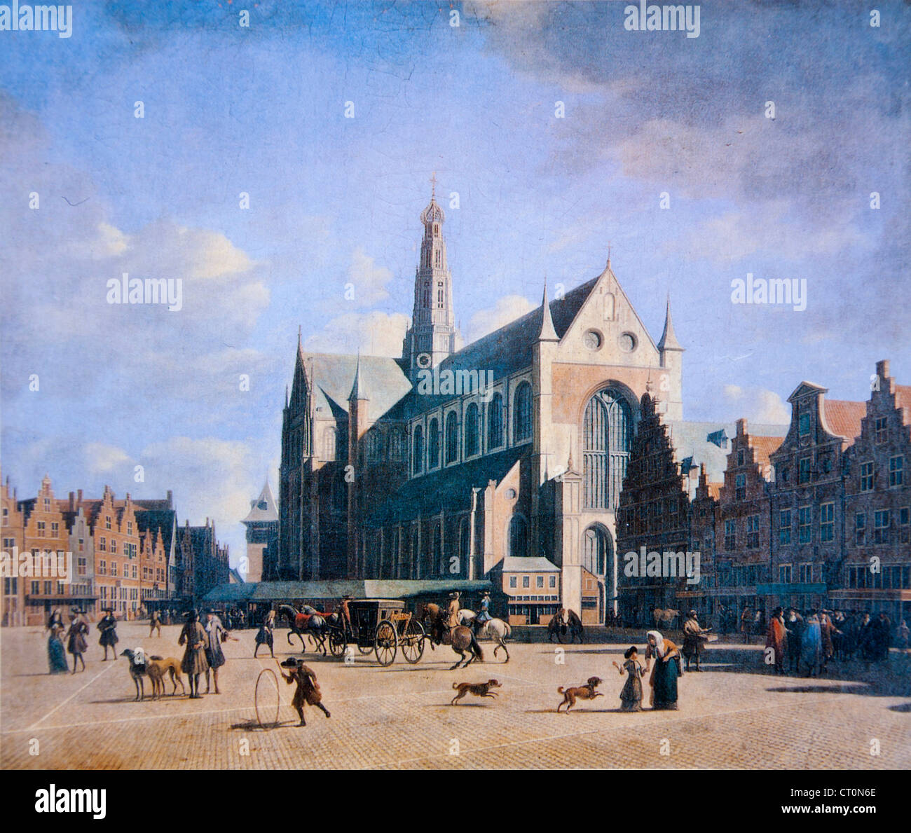 Gerrit Berckheyde, The Grote Markt and St. Bavokerk, 1696. Stock Photo