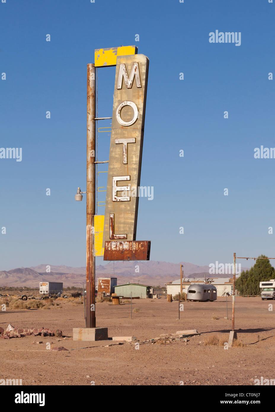 Old motel sign - Arizona USA - Stock Image