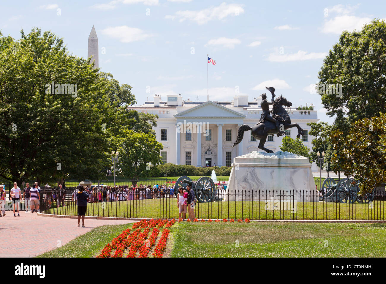 The White House north portico from Lafayette square - Washington, DC USA - Stock Image