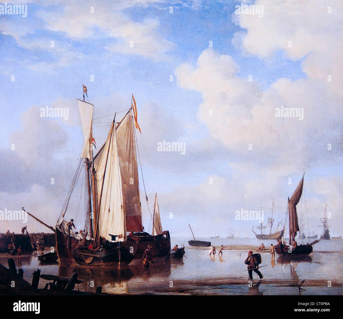 Willem van de Velde - Dutch Vessels at Low Tide - Stock Image