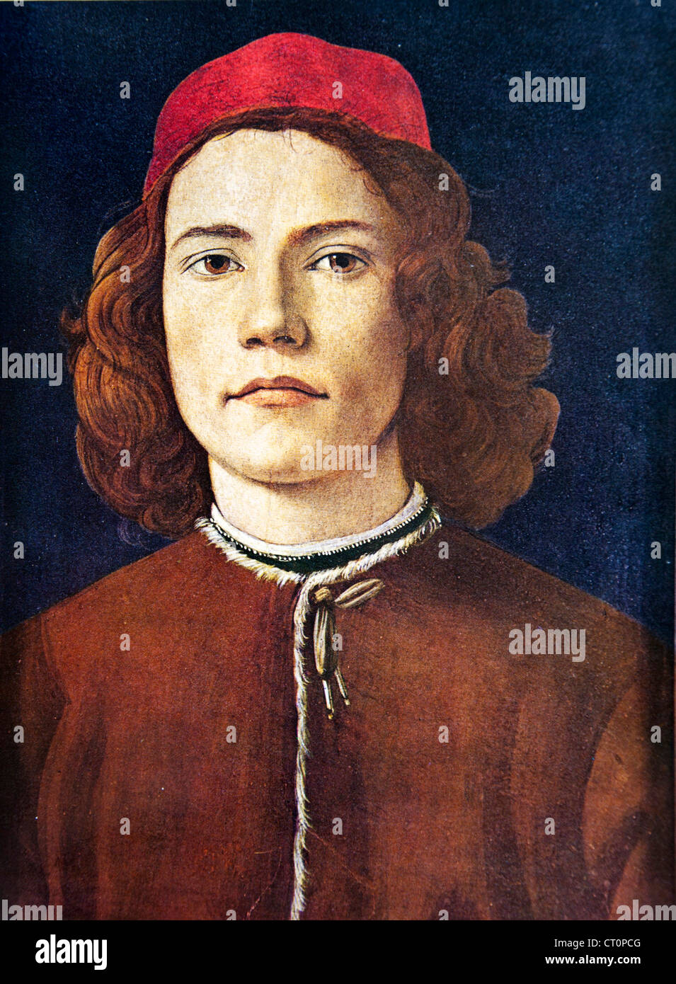 Portrait of a Young Man Botticelli - Stock Image