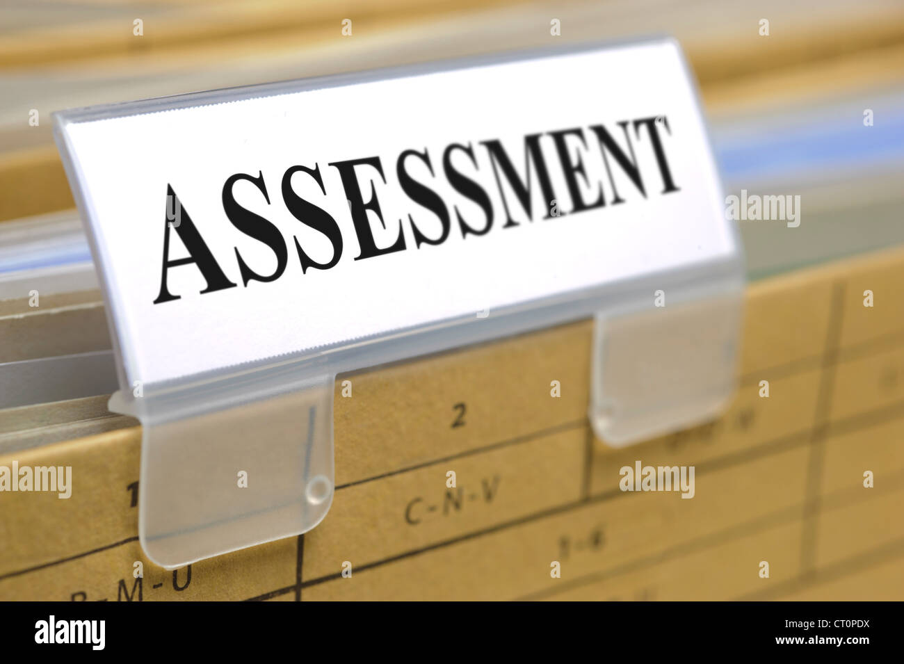 file folder marked with assessment - Stock Image