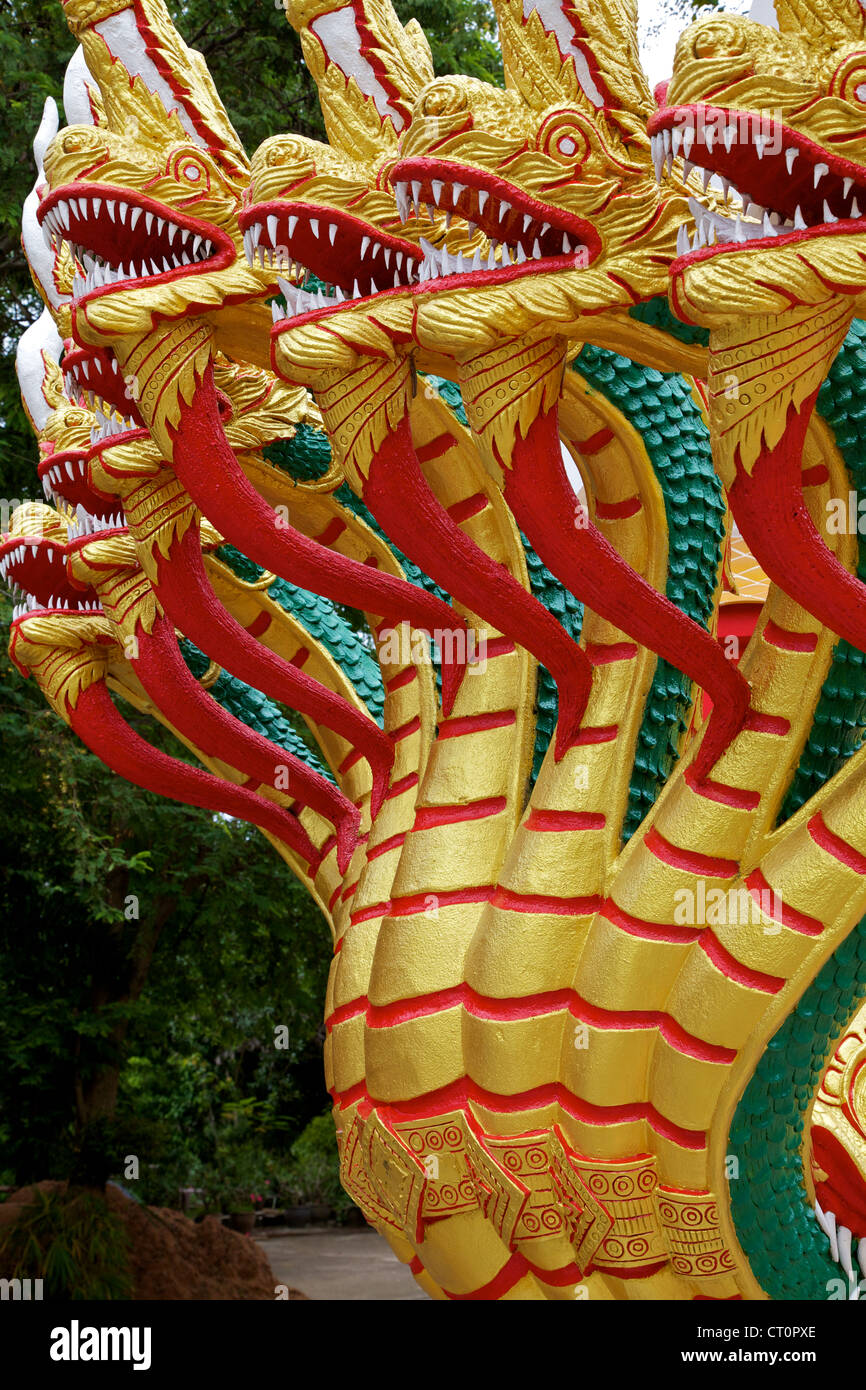 Statue of seven serpents at the Big Buddha in Pattaya, Thailand Stock Photo