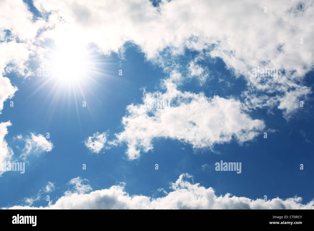 blue sky, cloud and sun - Stock Image