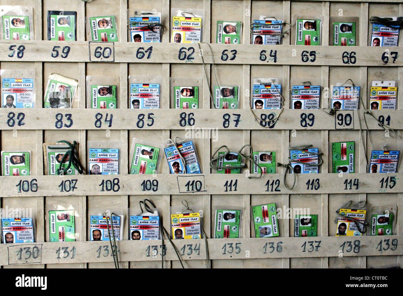 Assorted ID cards Afghan workers - Stock Image