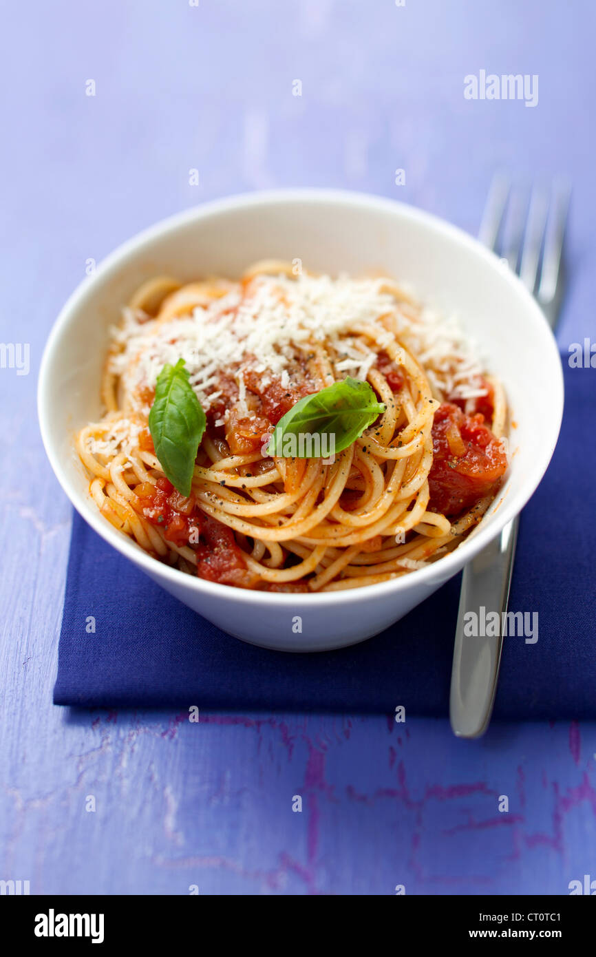 Close up of bowl of pasta - Stock Image
