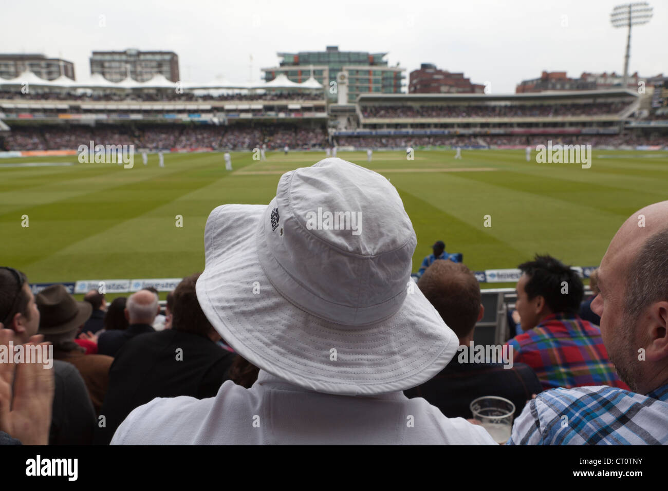 895cc7e7 Man with sun hat watching cricket at Lords Stock Photo: 49191911 - Alamy