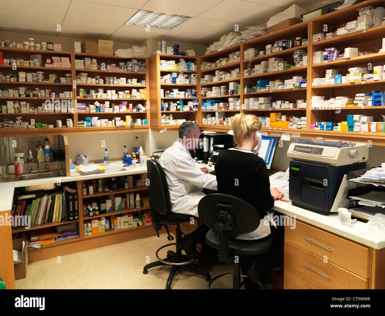 Pharmacists working in office - Stock Image