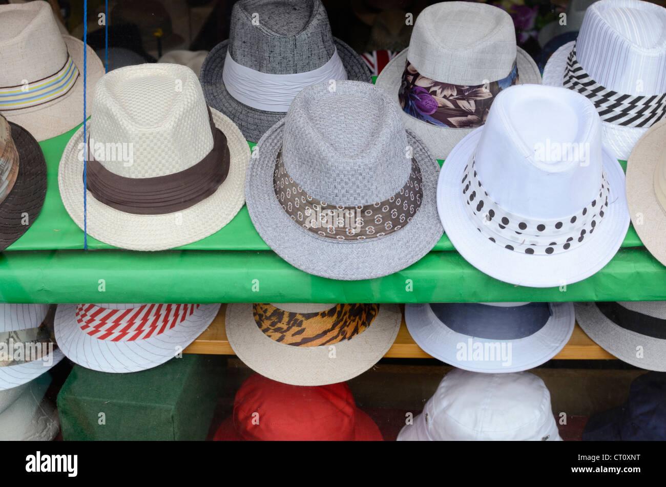 c1caf5bcc46c86 Trilby hats in a UK shop window · Roberto Herrett / Alamy Stock Photo