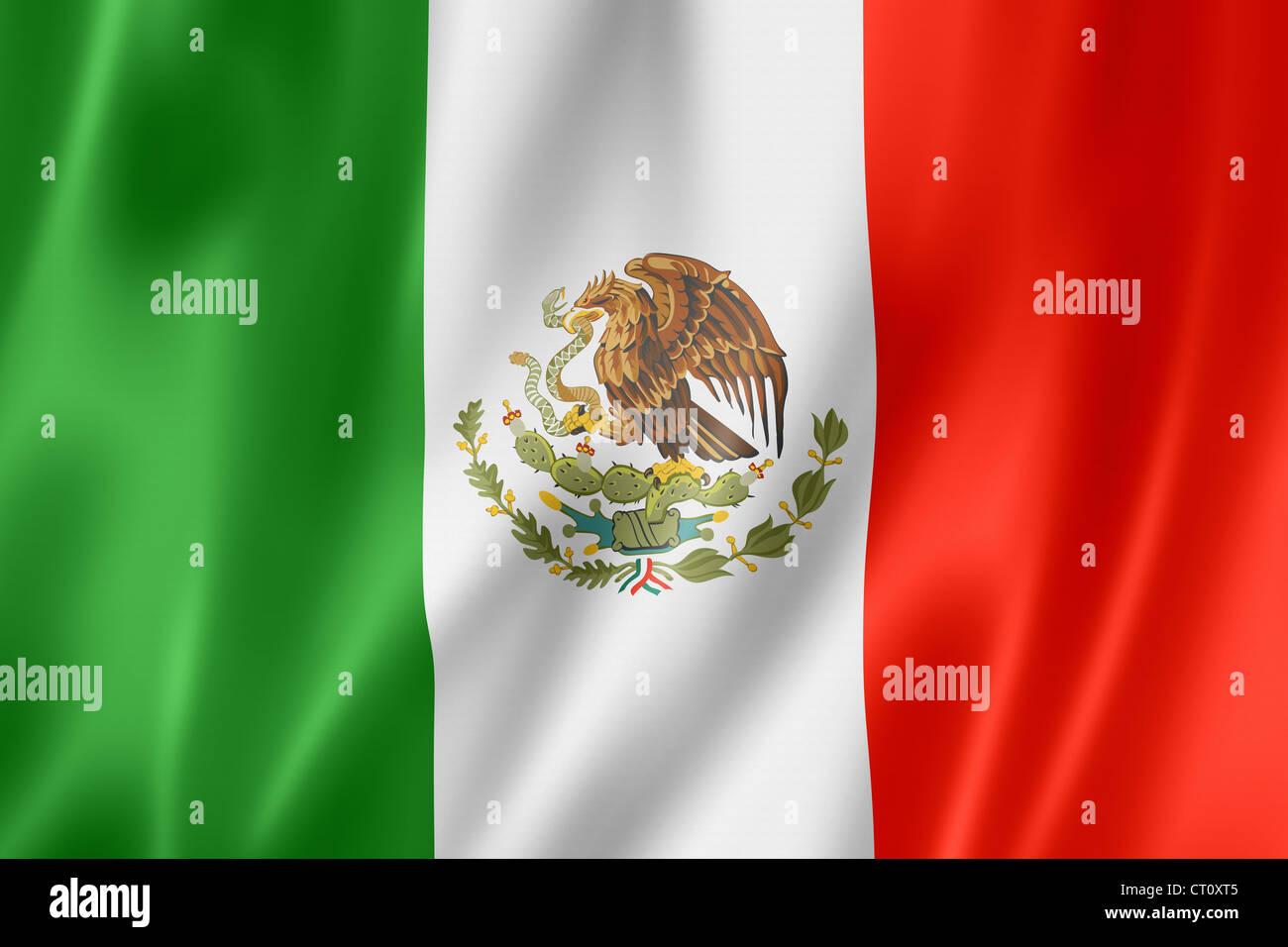 Mexico flag, three dimensional render, satin texture - Stock Image