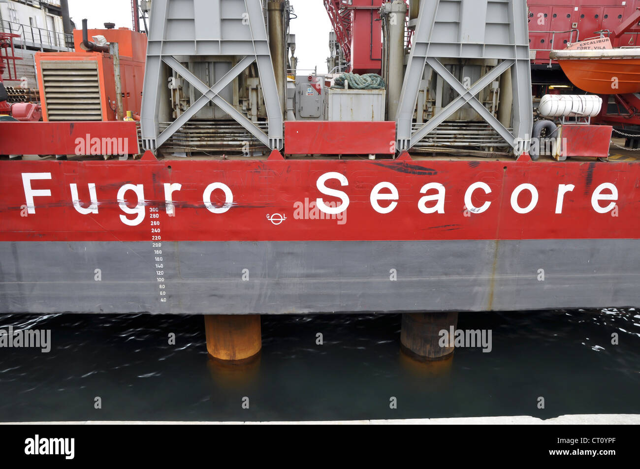 Excalibur Fugro Seacore drilling rig Holyhead harbour Anglesey - Stock Image