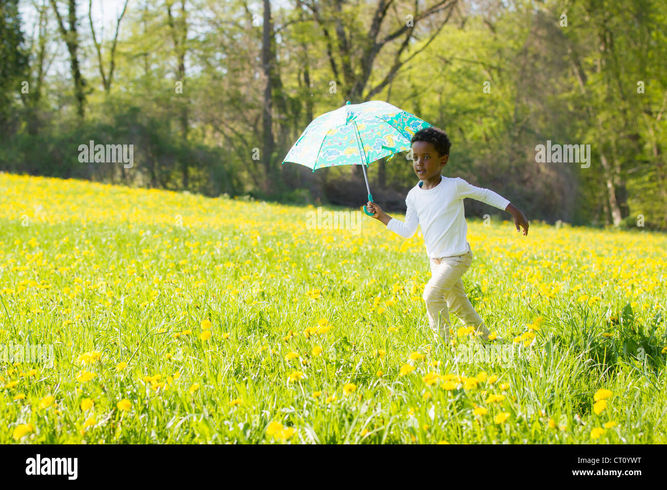 Boy carrying umbrella in field - Stock Image