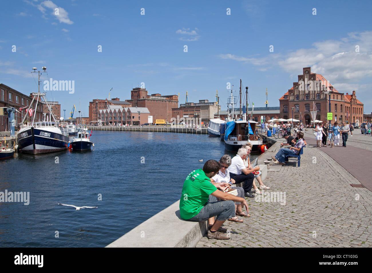 harbour, Wismar, Mecklenburg-West Pomerania, Germany - Stock Image