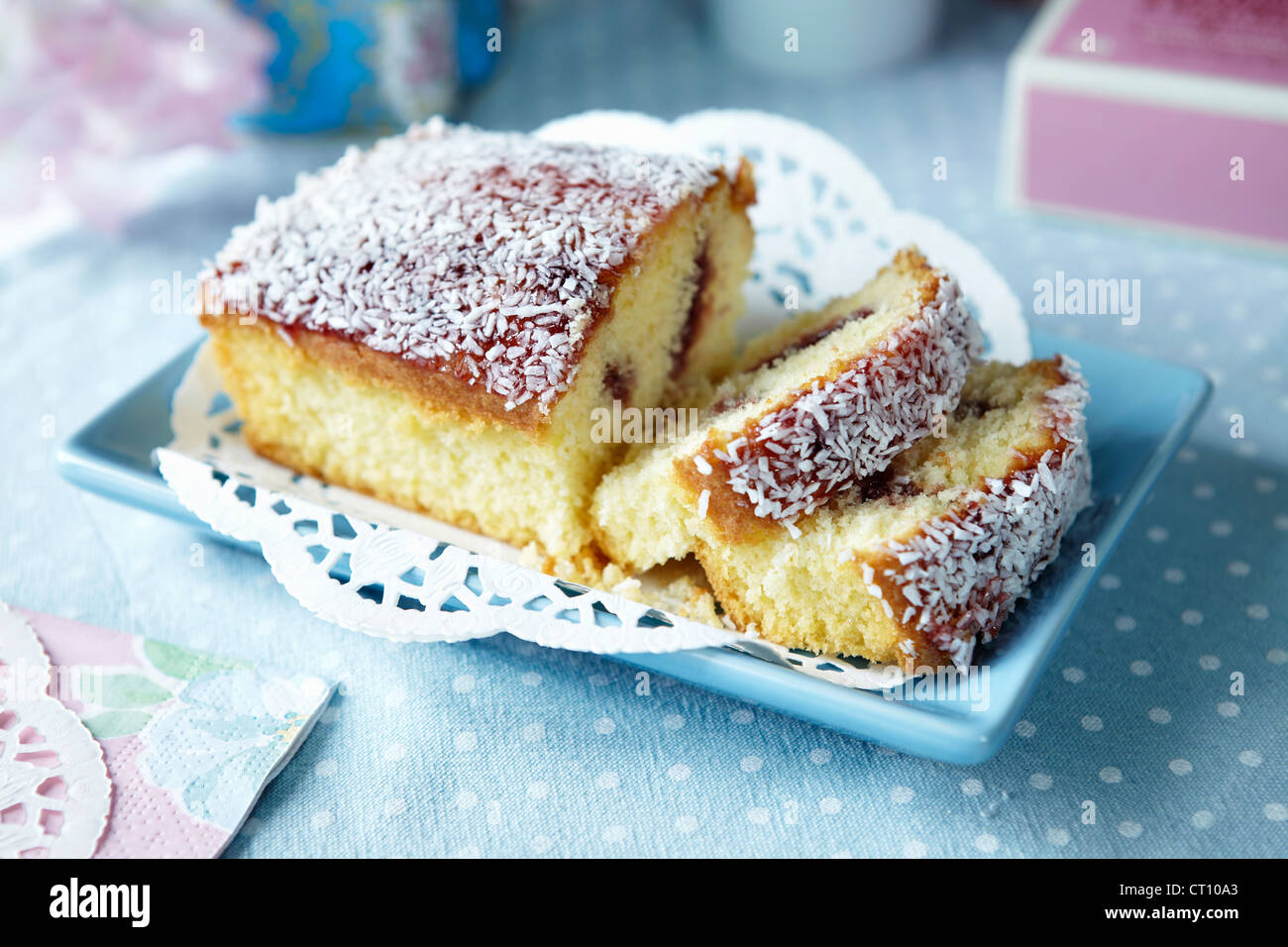 Plate of sliced fruit cake - Stock Image
