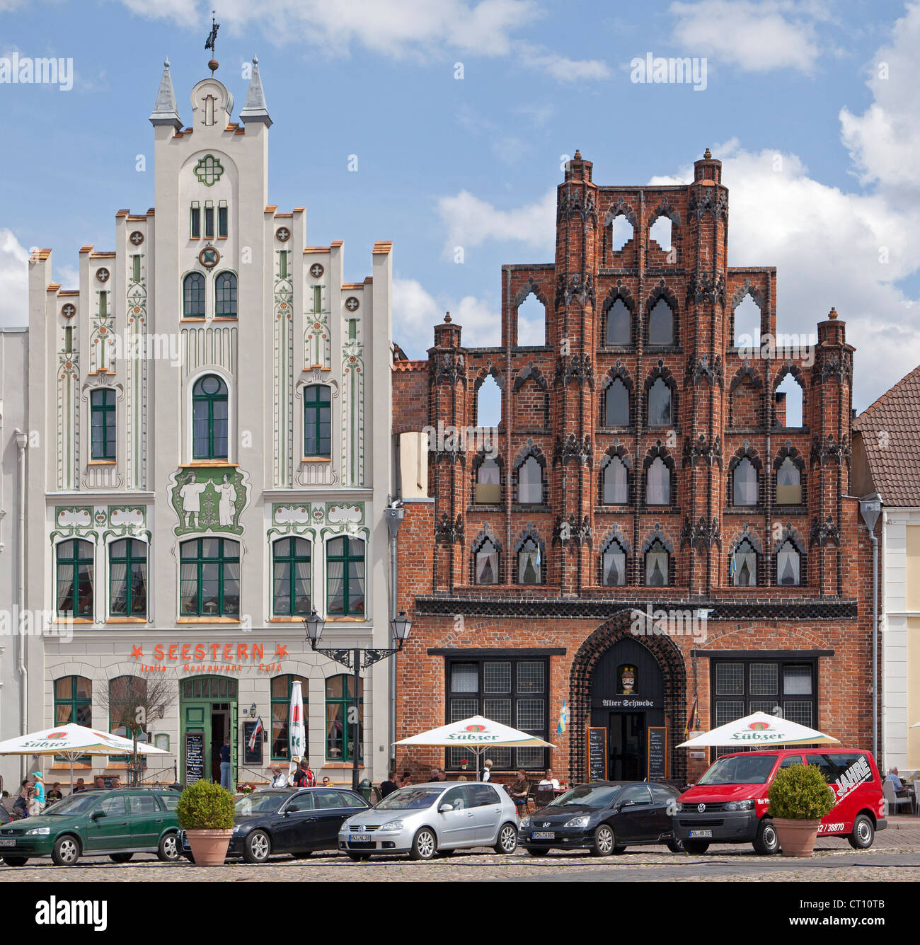 restaurants Seestern and Alter Schwede, market square, Wismar, Mecklenburg-West Pomerania, Germany Stock Photo