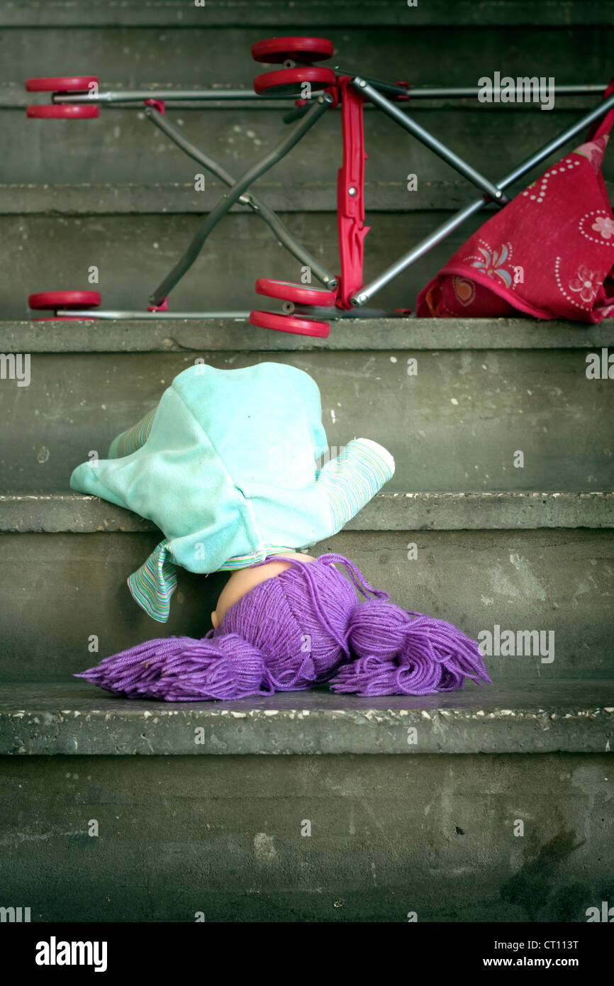 Eviction and violence homelessness concept metaphor - Stock Image