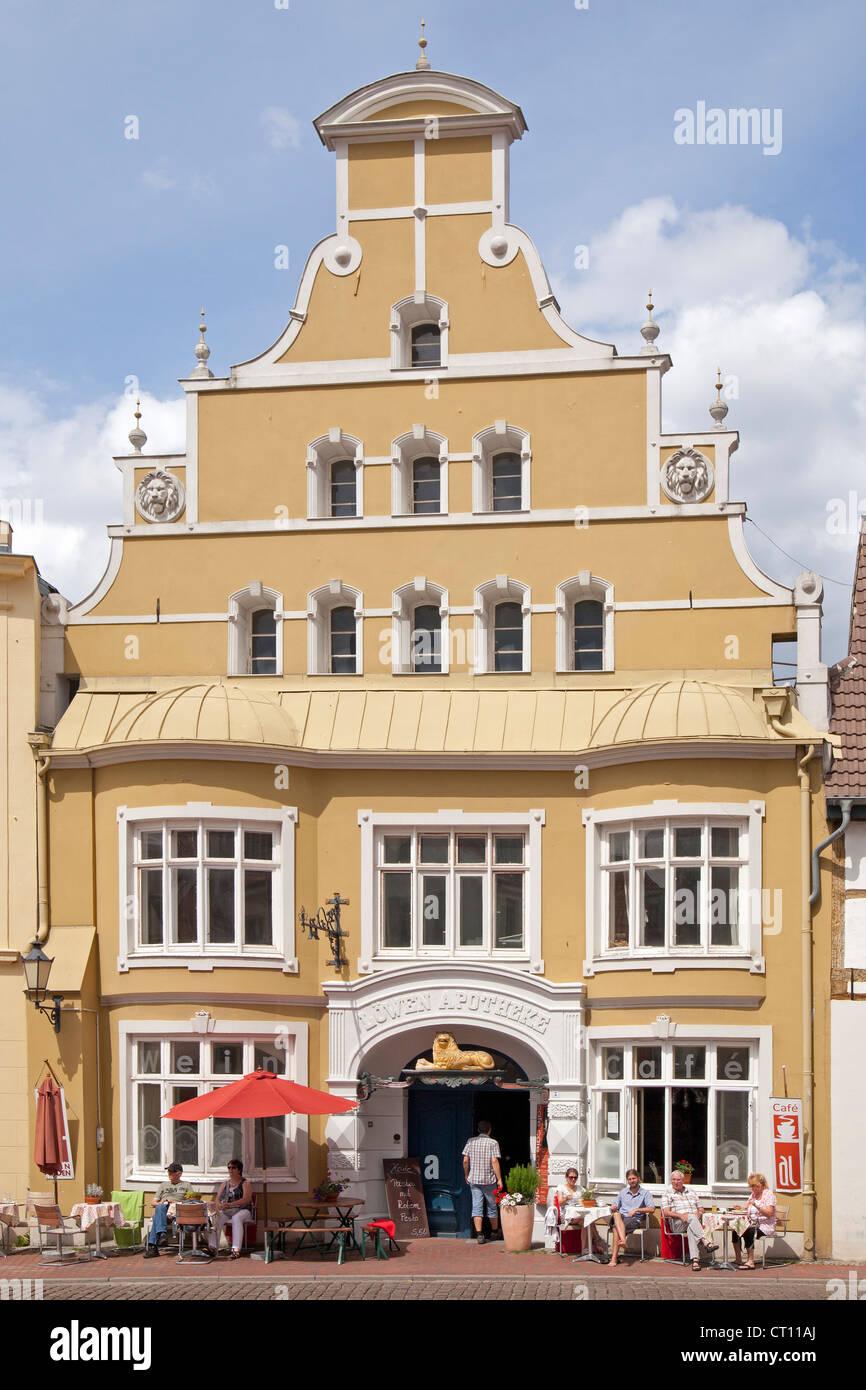 Loewen-Apotheke, Kraemerstrasse, Wismar, Mecklenburg-West Pomerania, Germany - Stock Image