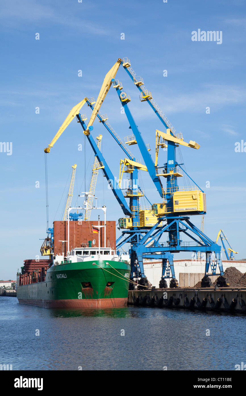 cranes, harbour, Wismar, Mecklenburg-West Pomerania, Germany - Stock Image