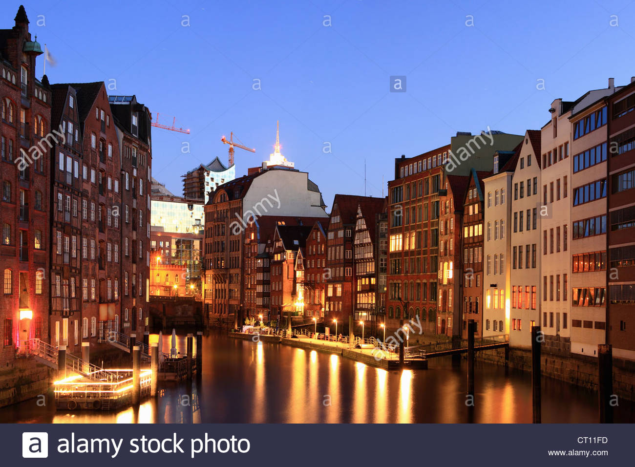 Hamburg lit up at night - Stock Image