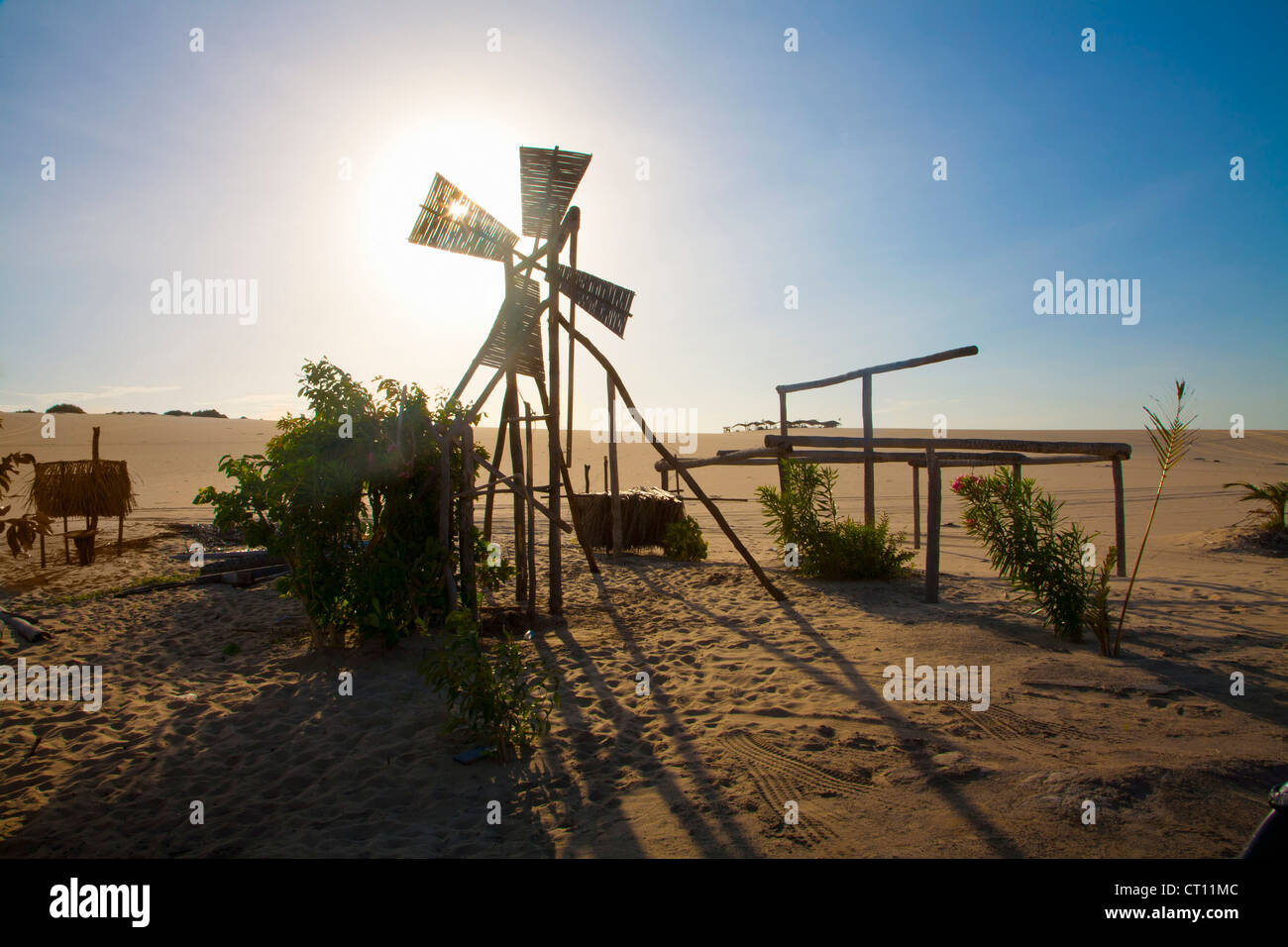 Dilapidated windmill in desert - Stock Image