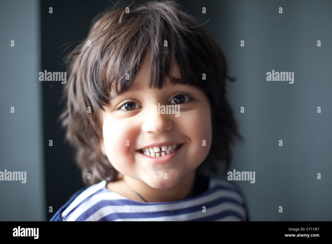 Close up of smiling boys face Stock Photo