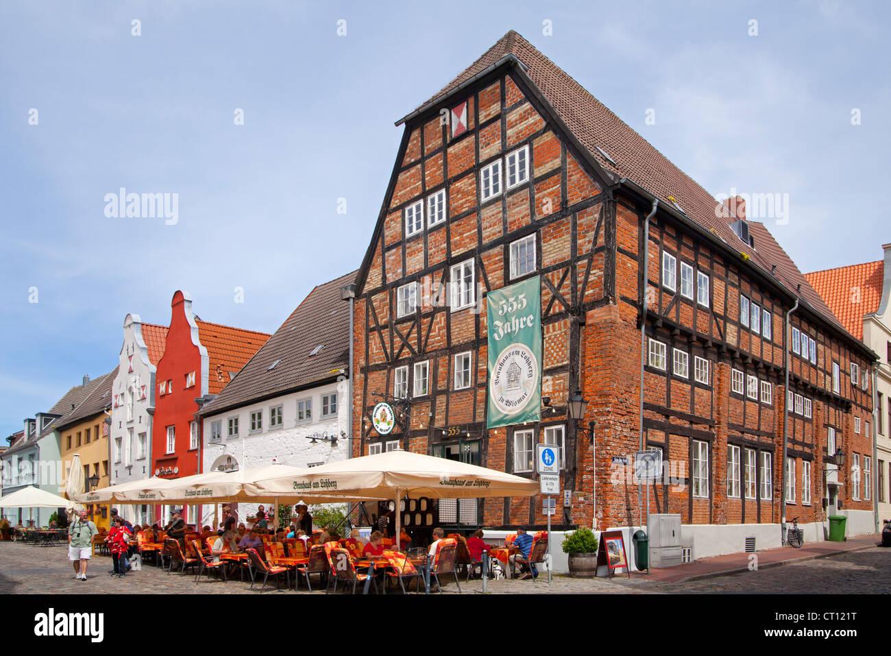 restaurants, Am Lohberg, Wismar, Mecklenburg-West Pomerania, Germany - Stock Image
