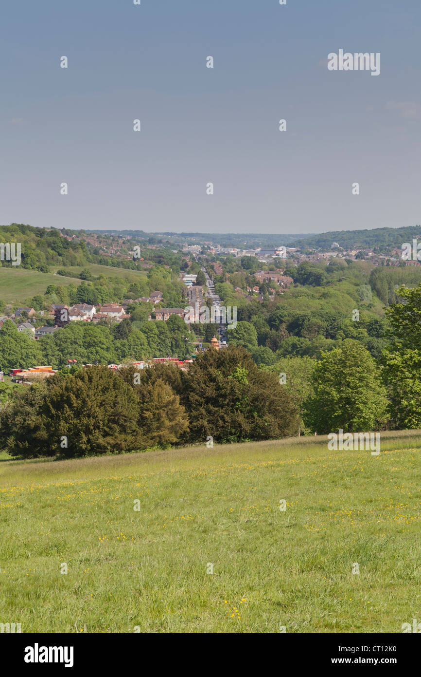 View of West Wycombe from West Wycombe Hill - Stock Image